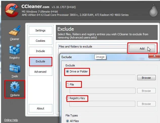 Exclude custom file