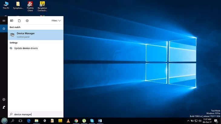 Search typing device manager in Cortana search box