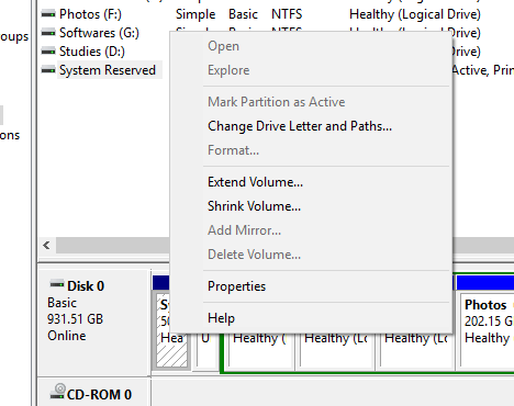 Extend Volume of Partition