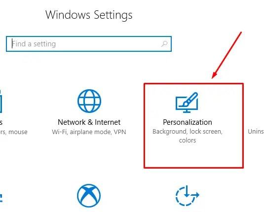 Personalization Setting of Windows 10