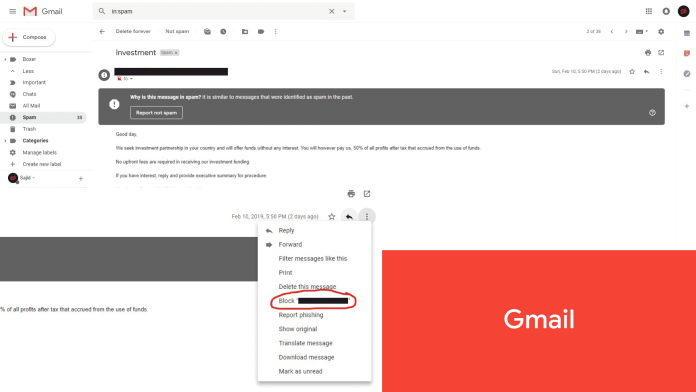 how to block unwanted emails in gmail