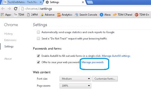 ChromeManagePassword