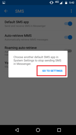 How to disable SMS in Facebook Messenger app