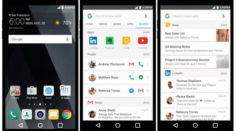In apps search mode in Google search app