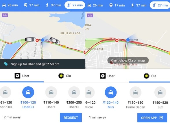 How to book the Ola or Uber cab from the Google Maps app?