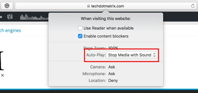 disable autoplay of videos on safari