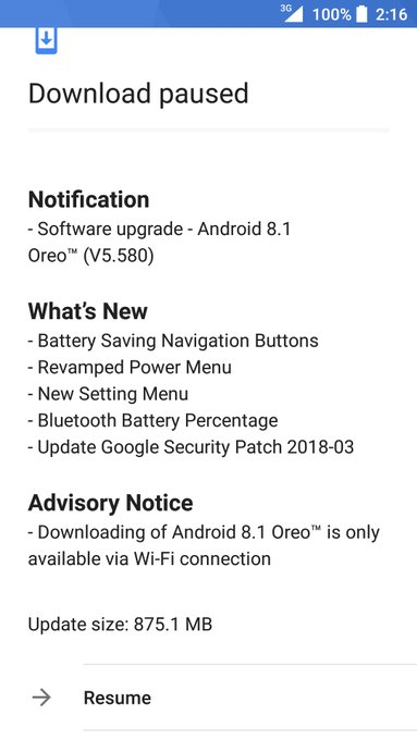 Nokia 3 Android Oreo Update