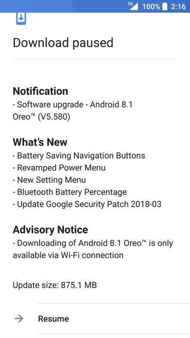 Nokia 3 Android Oreo Update