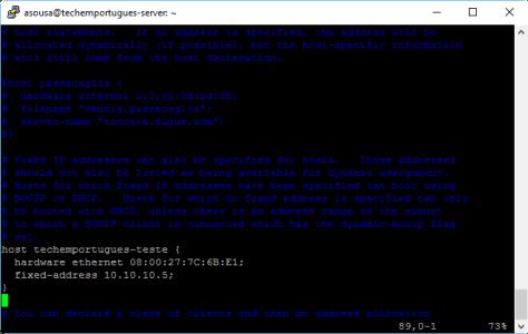 Configuração do Servidor DHCP - IP fixo