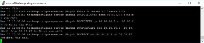 Configuração do Servidor DHCP - log do servidor