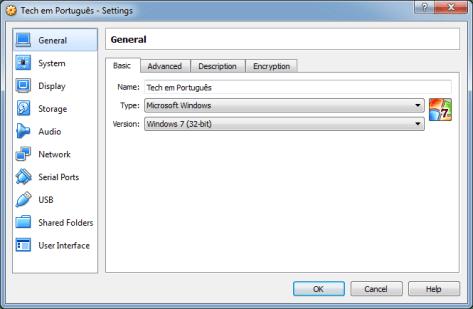 Configurações VM