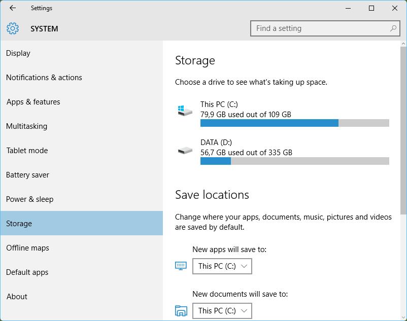 Windows 10 espaço em disco 2