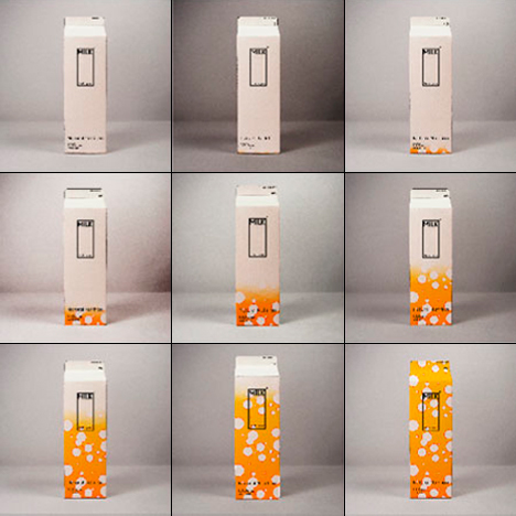Embalagem inteligente de leite que muda o desenho à medida que o leite se vai estragando. Design: Ko Yang