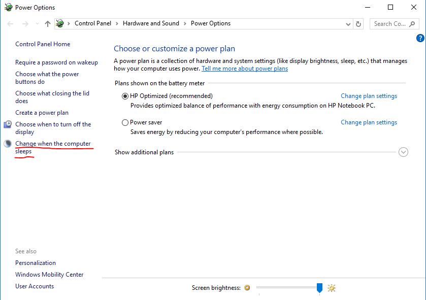 Modificar quando o computador hiberna