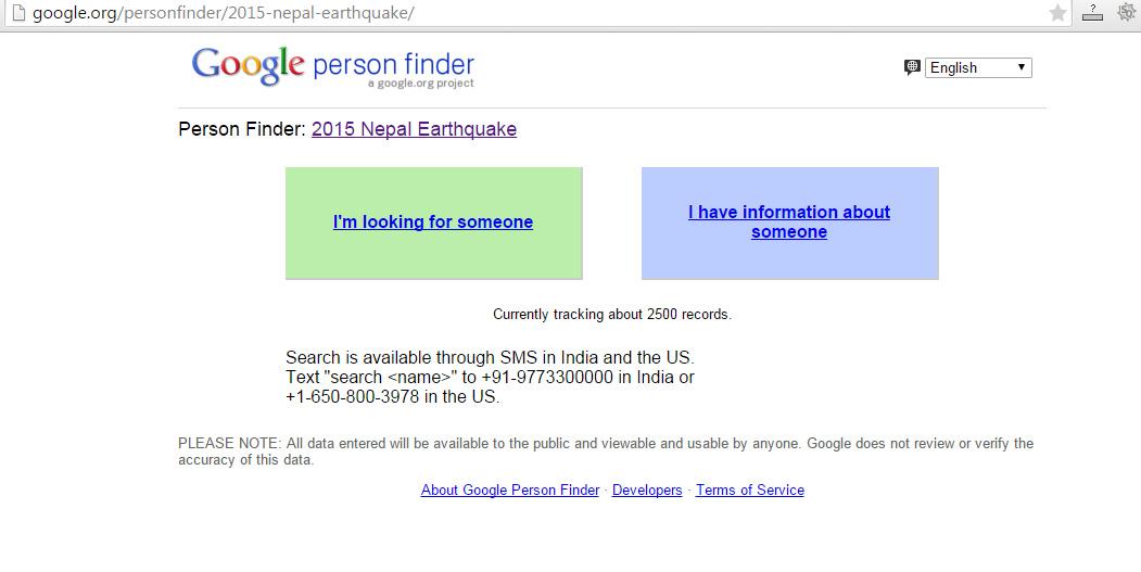 nepal earthquake google opens