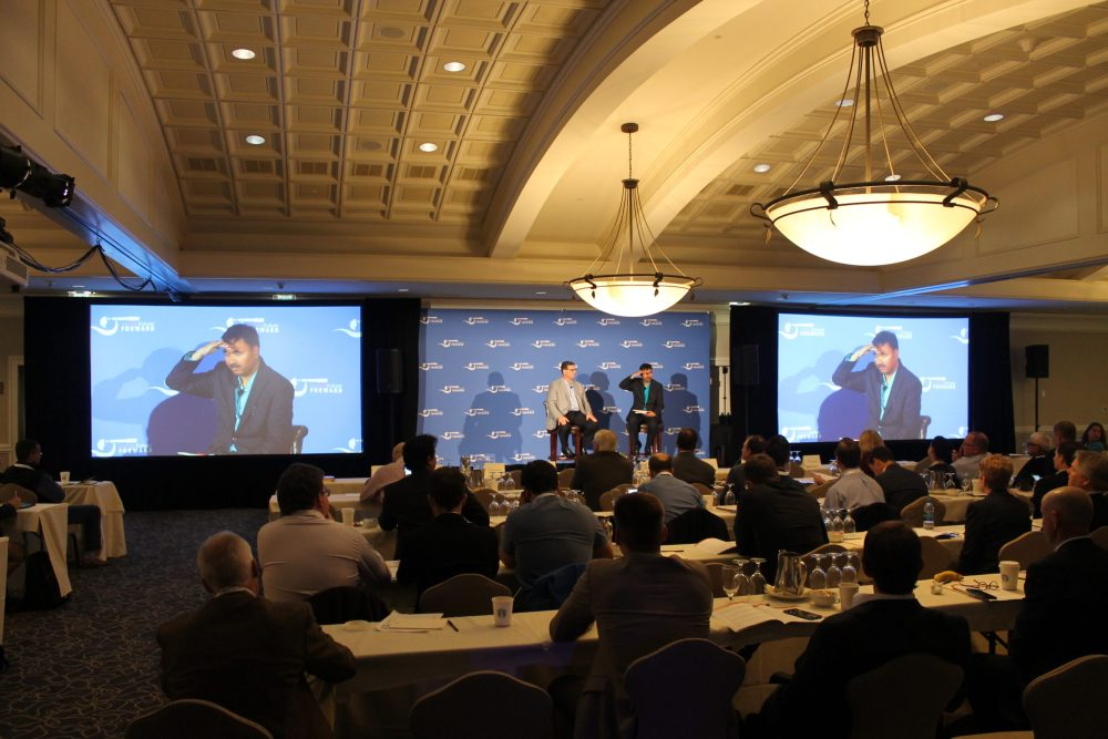 dual projection screen, stage, lighting for mobile future forward at newcastle golf club seattle