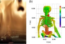 (a) Video of methane flame and picture of a plastic skeleton, Visualization 2. (b) False-colored rendered 3D 1-million-point cloud of the plastic skeleton as mapped in 3D through the flame.