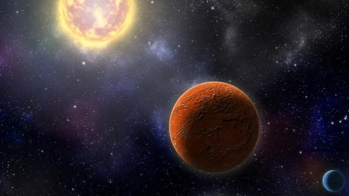 Artist's conception of HD 21749c, the first Earth-sized planet found by NASA's Transiting Exoplanets Survey Satellite (TESS), as well as its sibling, HD 21749b, a warm sub-Neptune-sized world. Illustration by Robin Dienel, courtesy of the Carnegie Institution for Science.