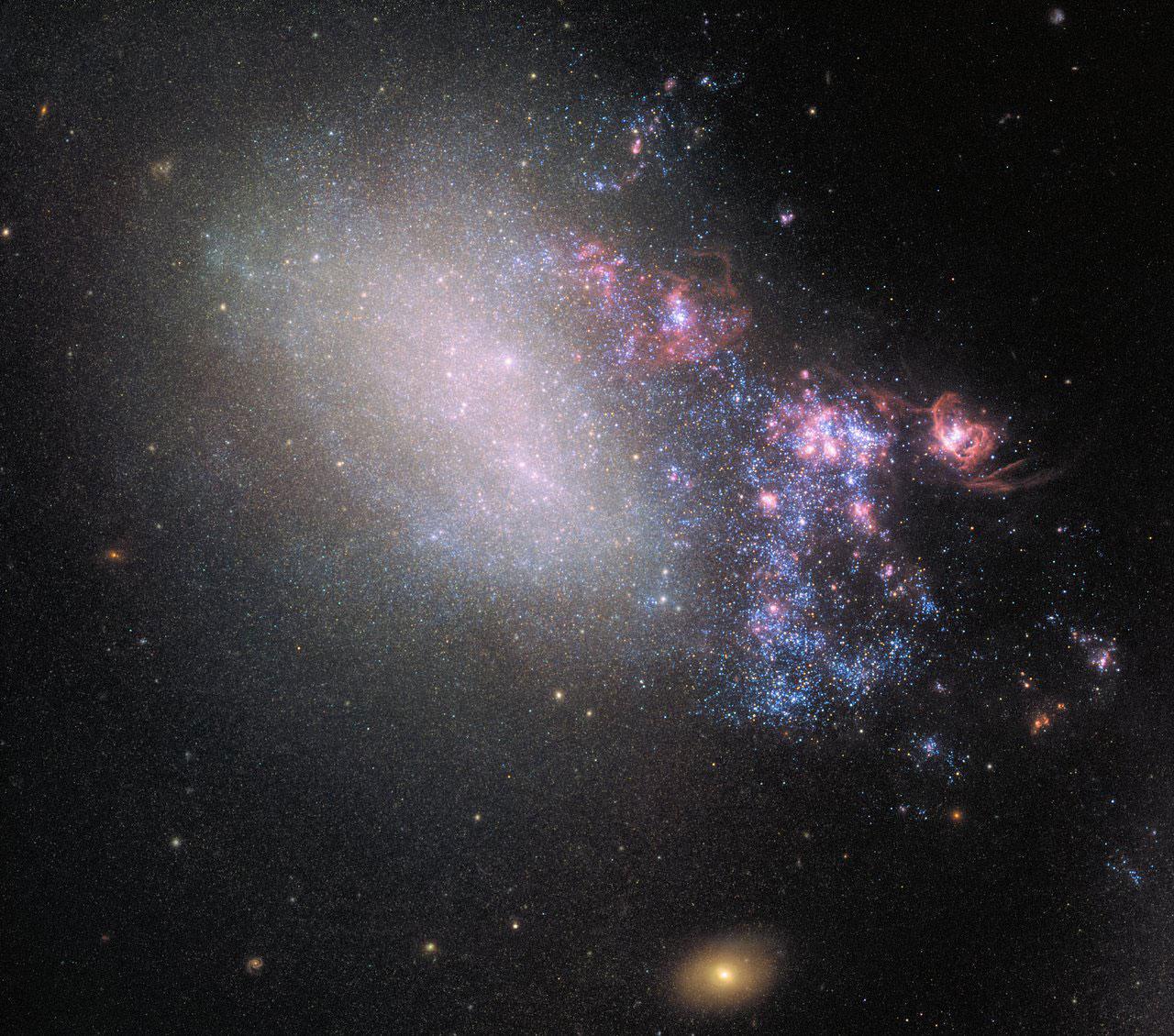 Hubble Observes Creative Destruction as Galaxies Collide