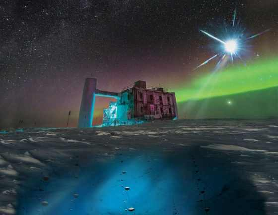 a real image of the IceCube Lab at the South Pole