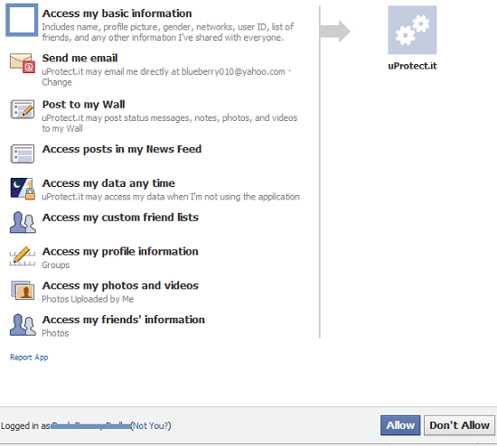 Facebook App uProtect.it