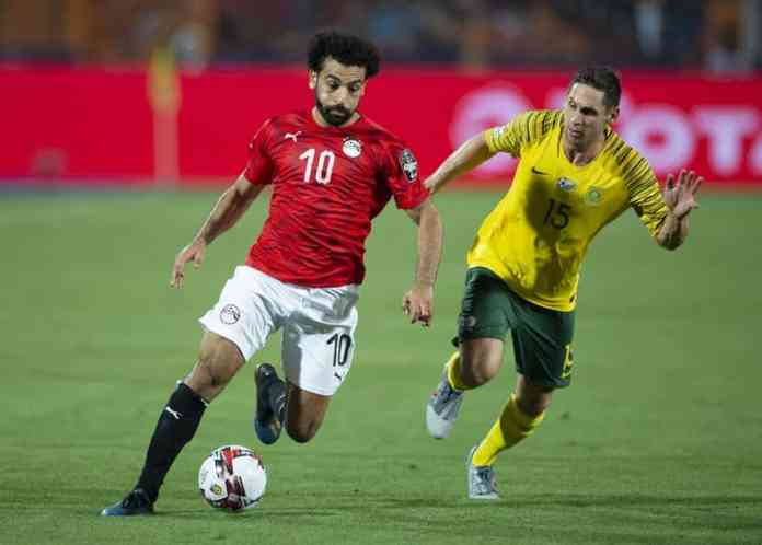 Mohamed Salah of Egypt and Dean Furman of South Africa