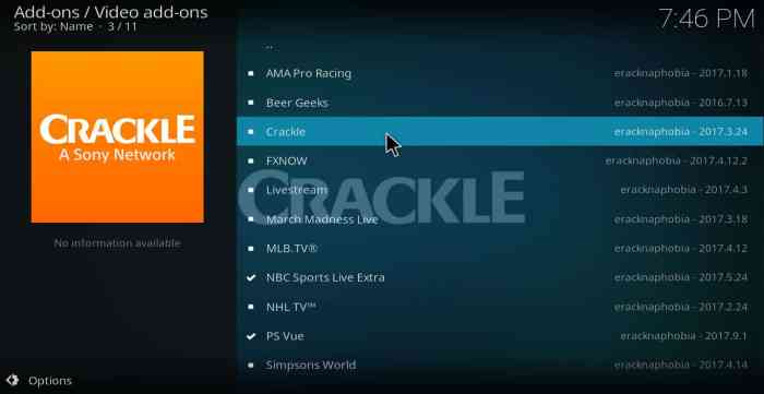 Crackle Kodi Addon