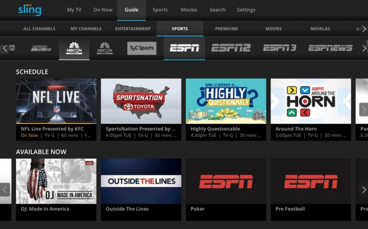 Sling TV app for LG TV
