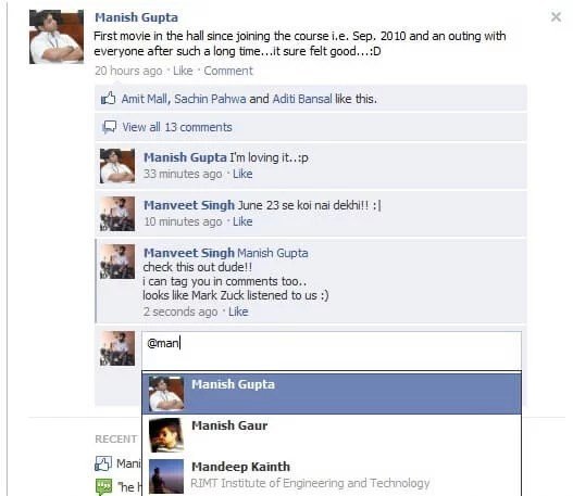 How to Tag Someone on Facebook Comments