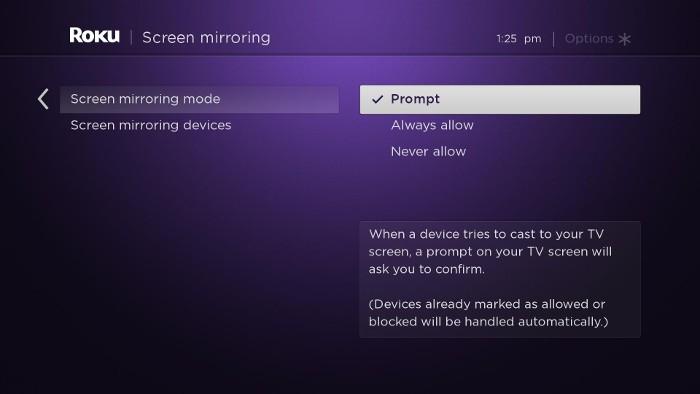 Roku Screen Mirroring Page