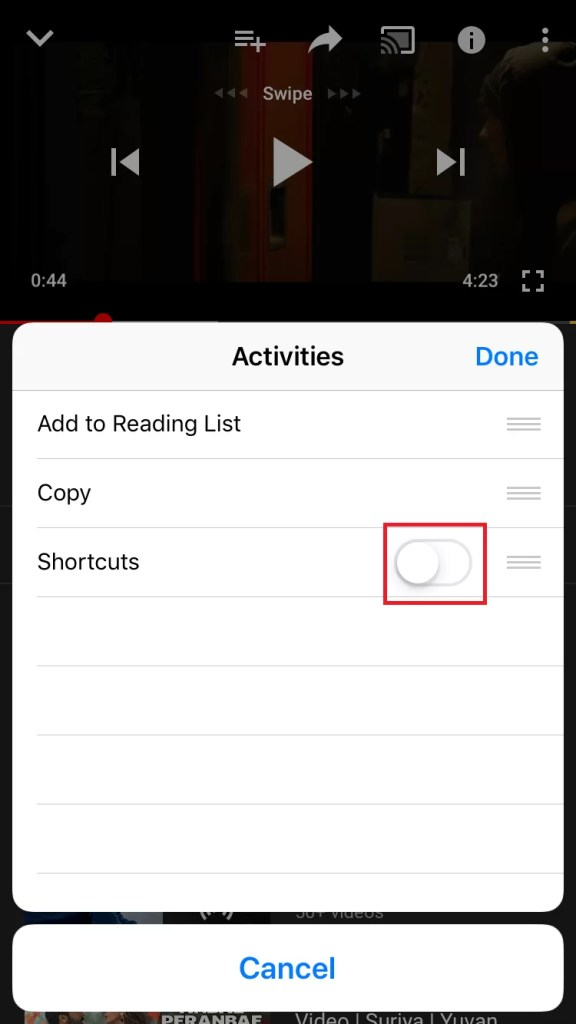 Enable Shortcut Menu