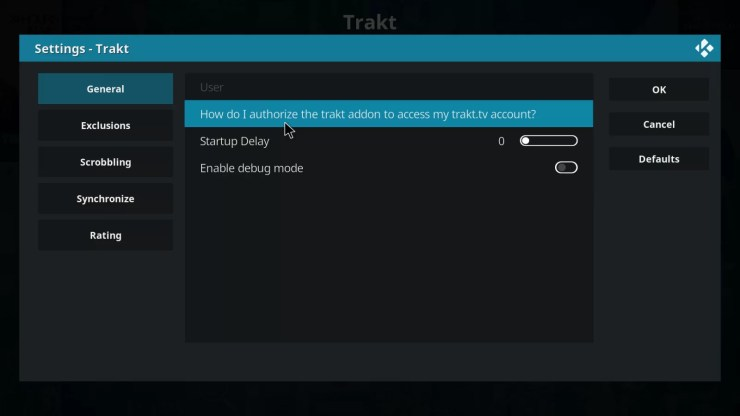Authorize Kodi with Trakt
