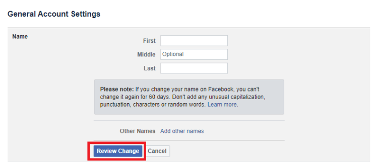 Change Name on Facebook using Computer