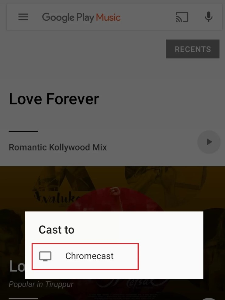 Chromecast Google Play Music using Android/iOS