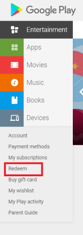 Redeem Google Play Gift Card