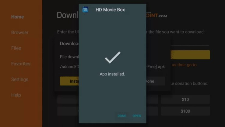 Install HD Movie Box