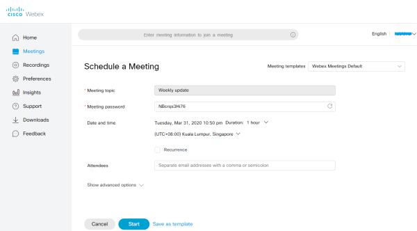 Schedule Meetings on Cisco Webex
