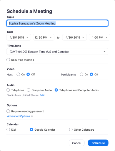 Schedule a Meet on ZOOM Cloud Meetings