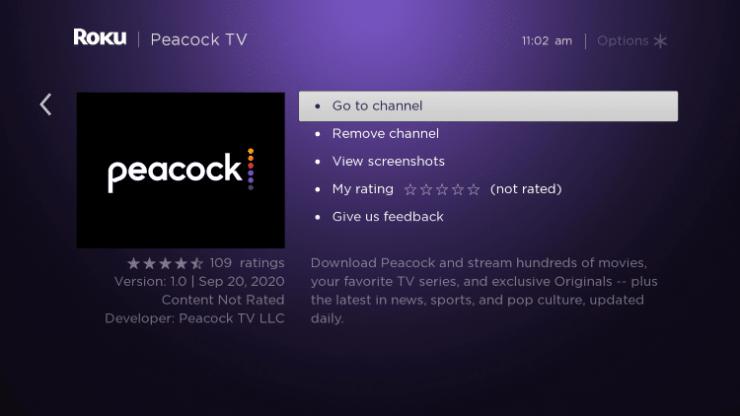 Peacock TV on Roku
