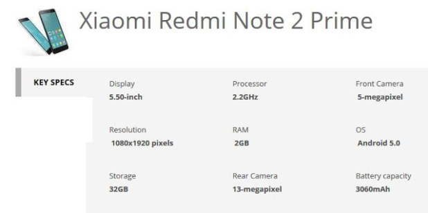 xiaomi redmi note 2 prime specification