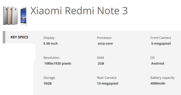 xiaomi redmi note 3 specs techtrainindia