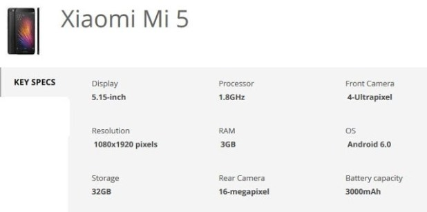 xiaomi mi 5 specification techfoogle.com