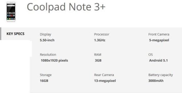 coolpad note  3+ specs-techfoogle.com