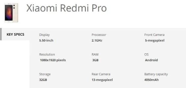 Xiaomi Redmi Pro specs