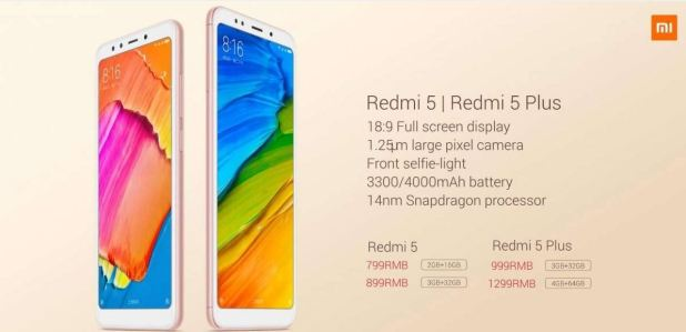 Xiaomi Redmi 5 and Redmi 5 Plus Specs