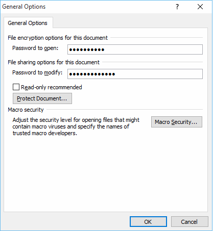 Choose Password in General Options
