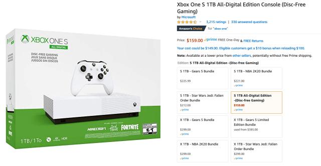 XBOX One S All Digital Amazon