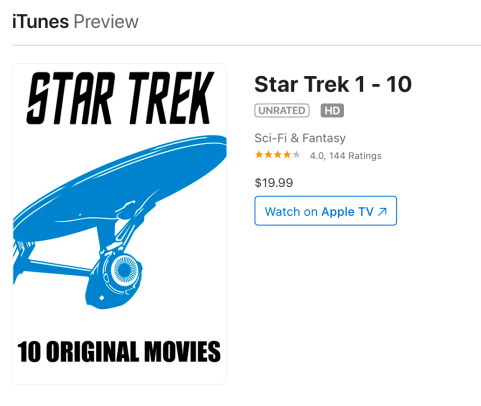 Star Trek iTunes Digital Offer 2020