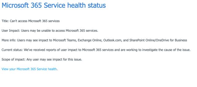 MS Status page