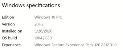 Win10 OS Build